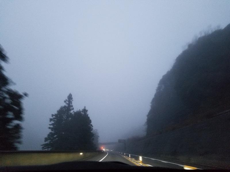 濃霧に覆われた松山自動車道