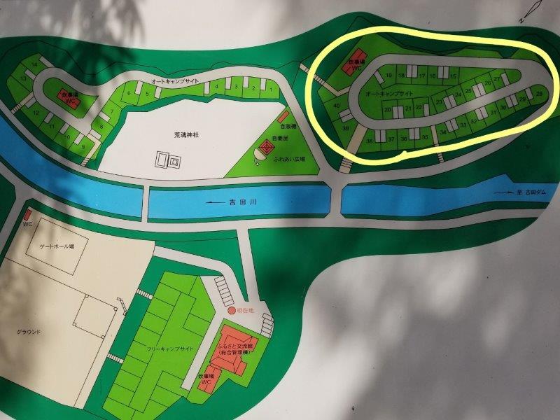 小豆島オートビレッジYOSHIDA(オートキャンプサイト15~40のマップ)