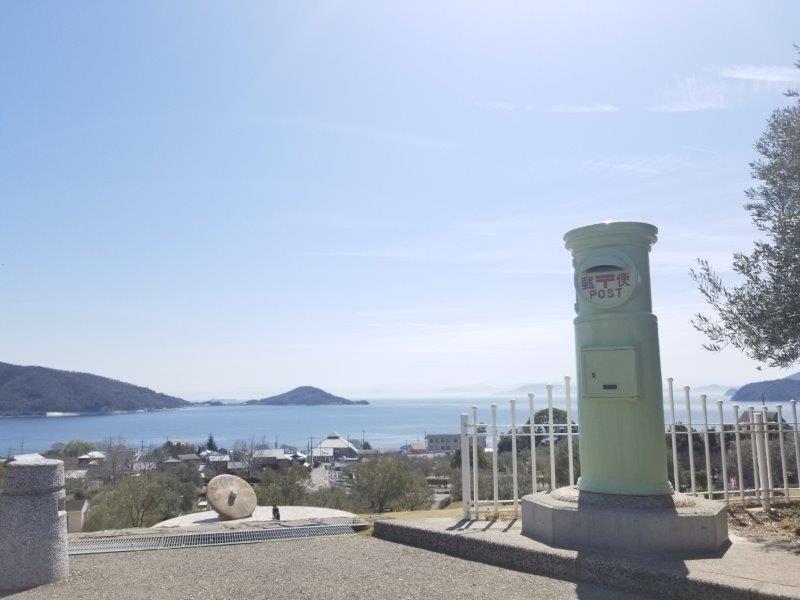 小豆島オリーブ公園-緑色のポスト