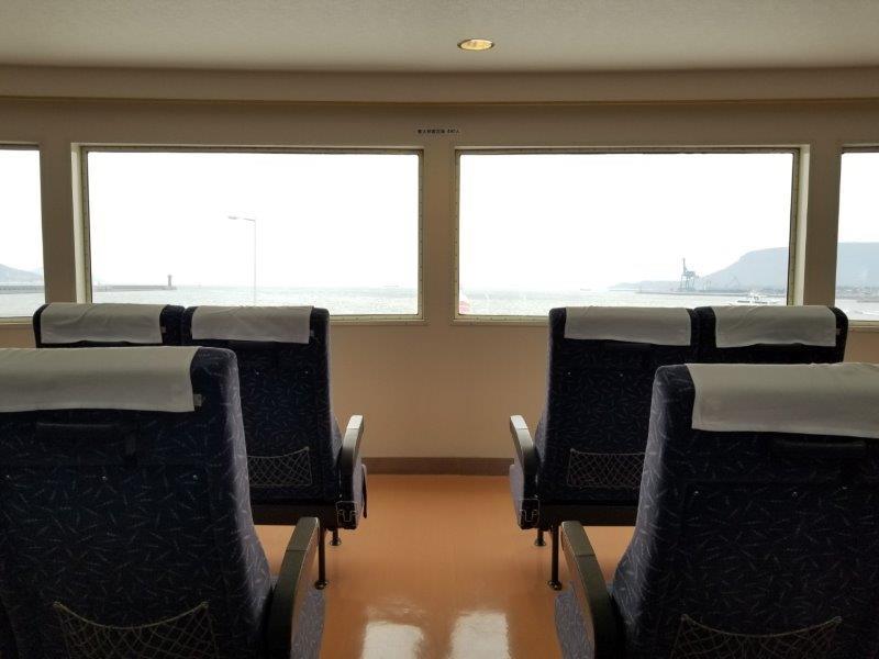 第二しょうどしま丸船内の船頭席からの景色