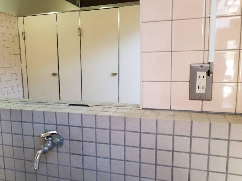 グリーンパル日向神峡 温水シャワーの洗面台