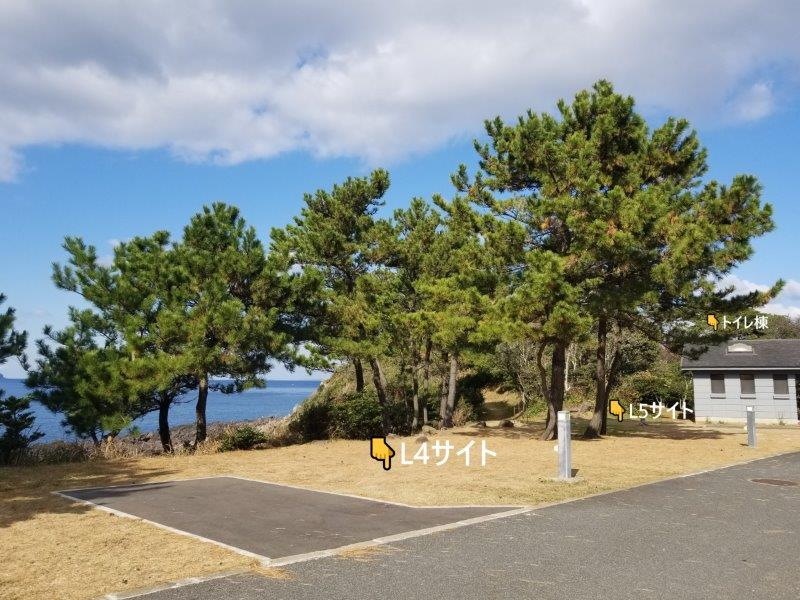 波戸岬キャンプ場オートサイトL4とL5