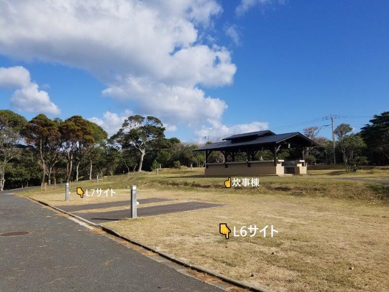 波戸岬キャンプ場オートサイトL6-L7