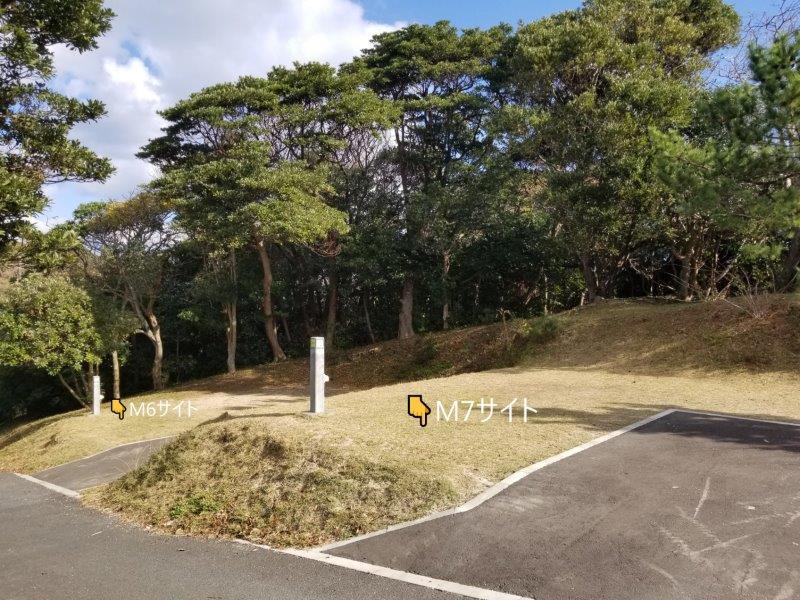 波戸岬キャンプ場オートサイトM6とM7サイト