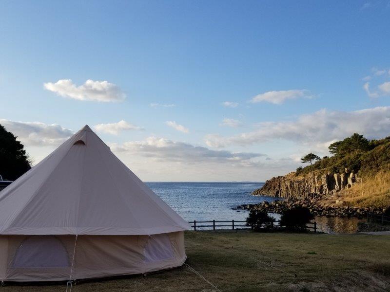 波戸岬キャンプ場でアスガルド設営しました