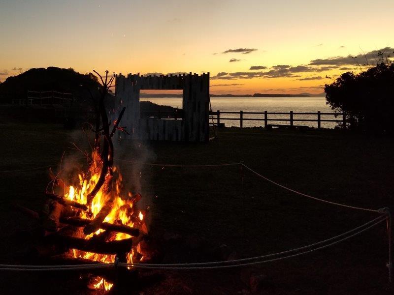 波戸岬キャンプ場でキャンプファイヤー