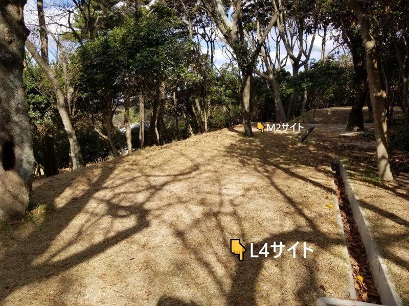波戸岬キャンプ場一般サイトL4とM2