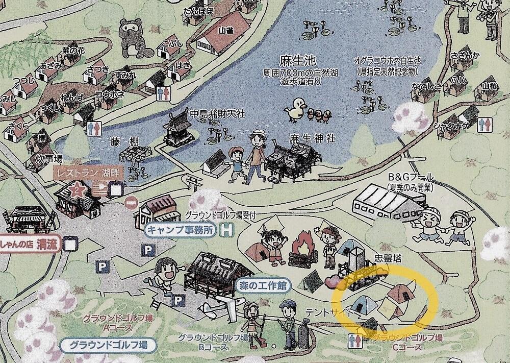 池の山キャンプ場 場内マップ 忠霊塔奥サイト