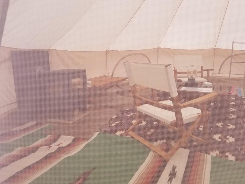 福岡県うきは市 きふねキャンプ場のレンタルテント内部
