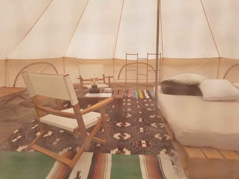 福岡県うきは市 きふねキャンプ場のベルテント内部