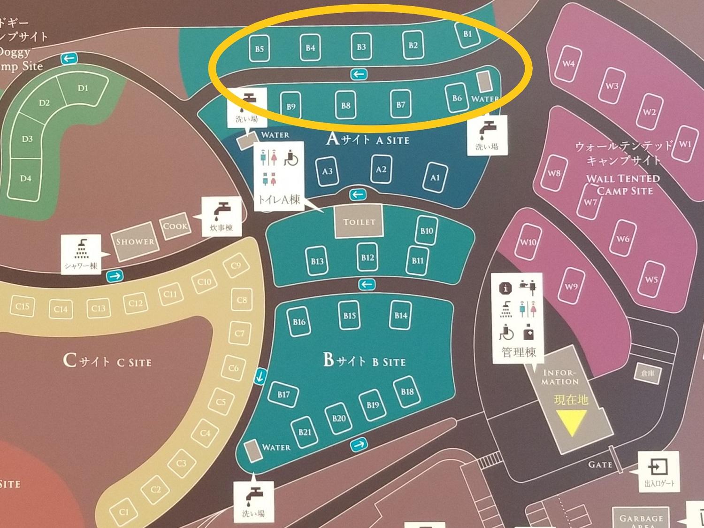 モンベル 五ケ山ベースキャンプ Bサイト拡大マップ