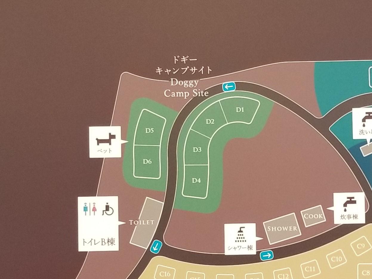 モンベル 五ケ山ベースキャンプドギーキャンプサイト拡大マップ