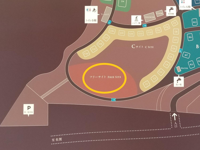 モンベル 五ケ山ベースキャンプ フリーサイト拡大マップ