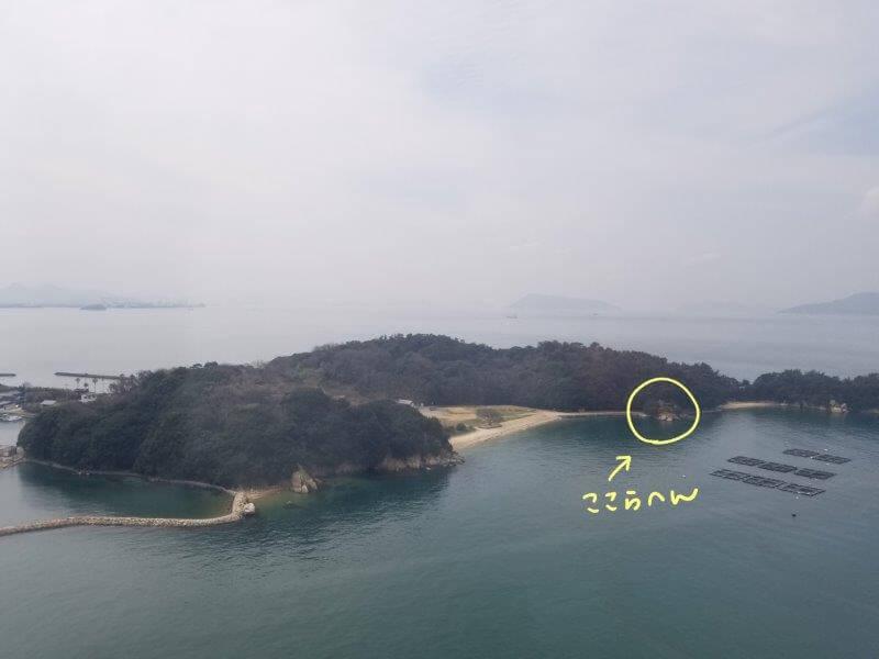 瀬戸大橋タワーから見た沙弥島ナカンダ浜