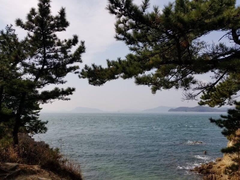 沙弥島の長崎鼻からの景色