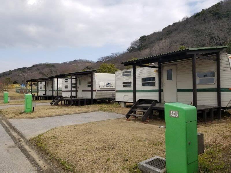 竜王山公園オートキャンプ場のトレーラーハウス