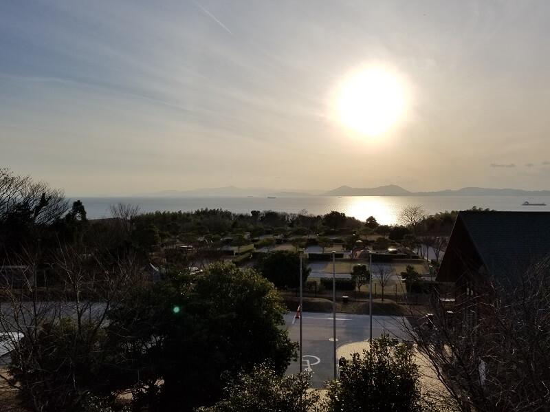 竜王山公園オートキャンプ場の夕日