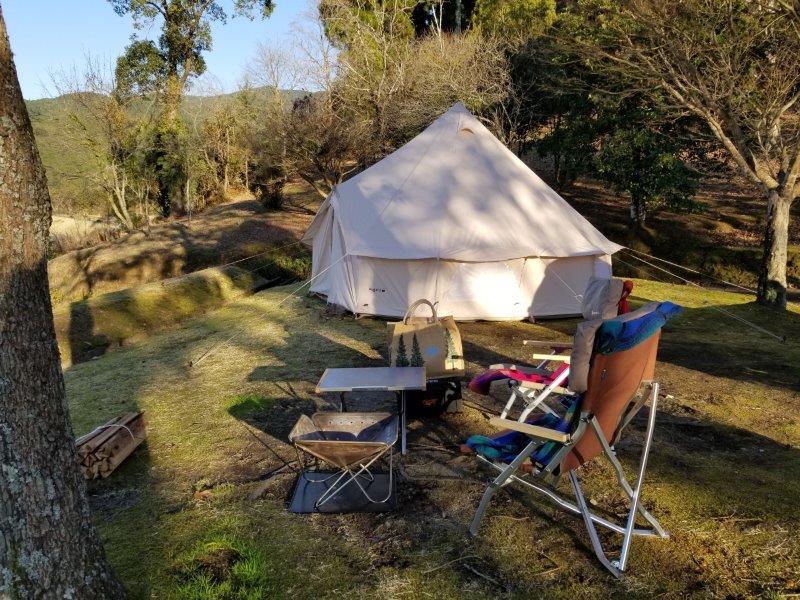 ゆのまえキャンプ場でテント設営