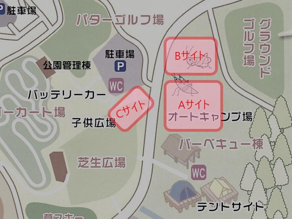 ゆのまえグリーンパレス オートキャンプ場のサイトマップ