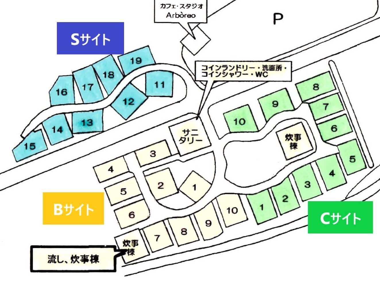 秋吉台オートキャンプ場のBサイト・Cサイト・Sサイトの拡大マップ