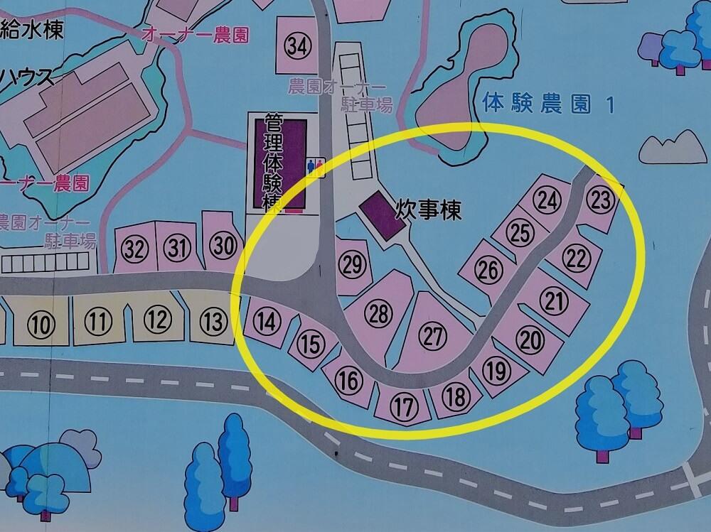 秋吉台家族旅行村のオートサイトマップ14番~29番拡大版