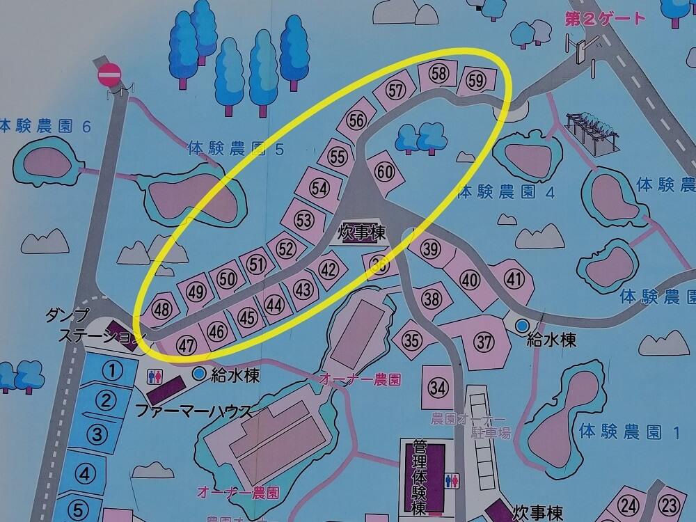 秋吉台家族旅行村のオートサイトマップ42番~60番拡大版