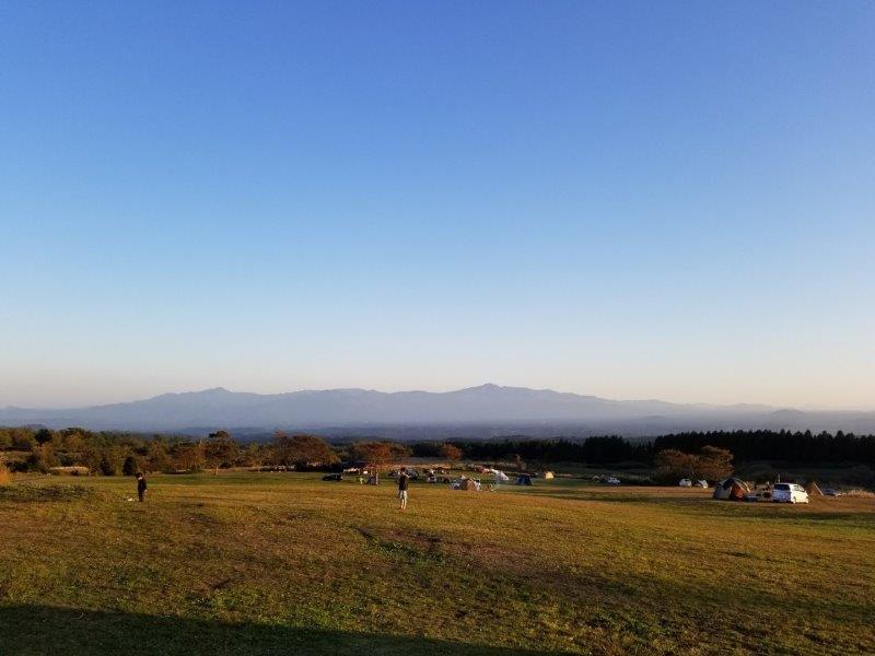 ボイボイキャンプ場から見る阿蘇山