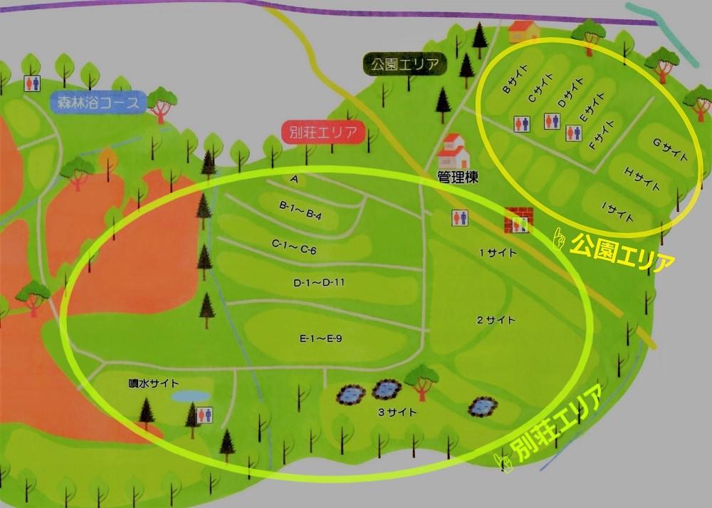 ゴンドーシャロレーオートキャンプ場のテントサイトマップ