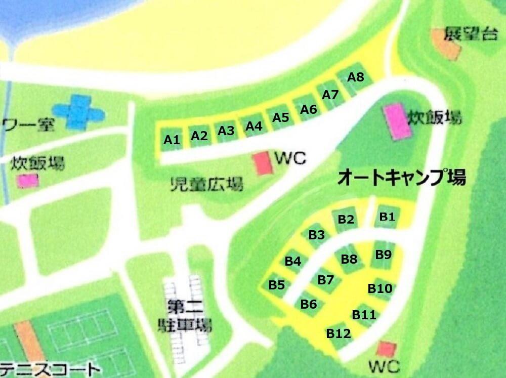 糸ヶ浜海浜公園オートキャンプ場マップ