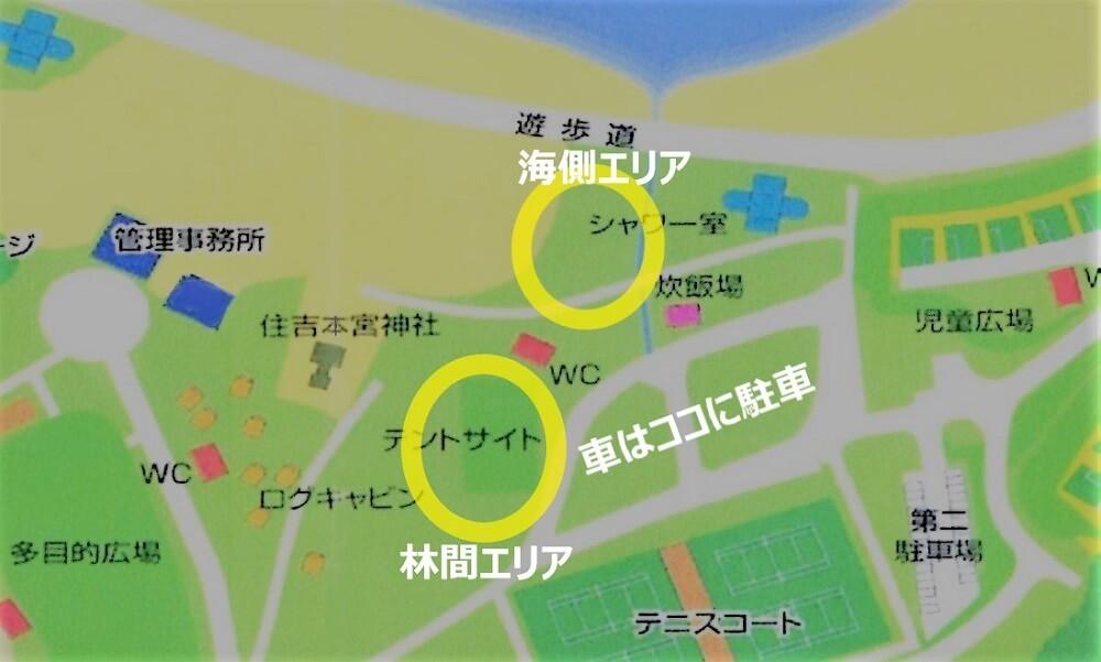 糸ヶ浜海浜公園のテントサイトマップ