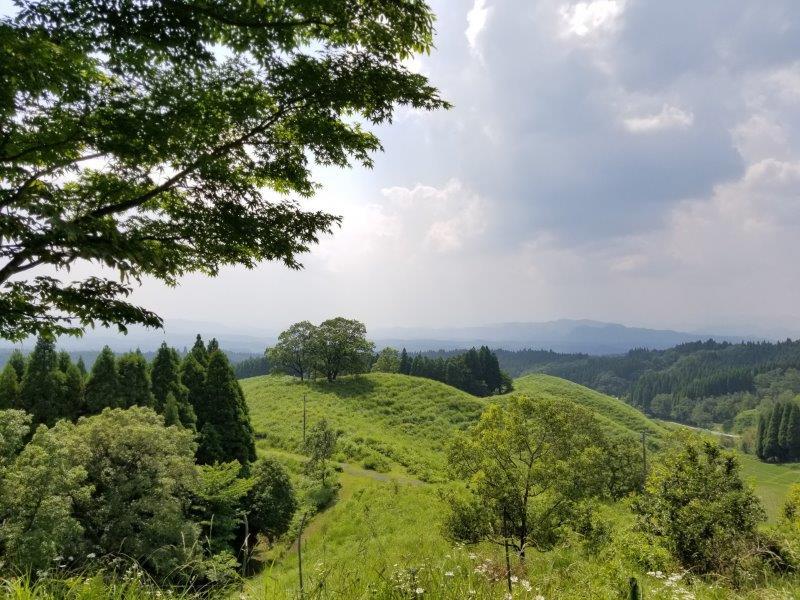 蔵迫温泉さくらキャンプ場阿蘇側のA3サイトからの景色