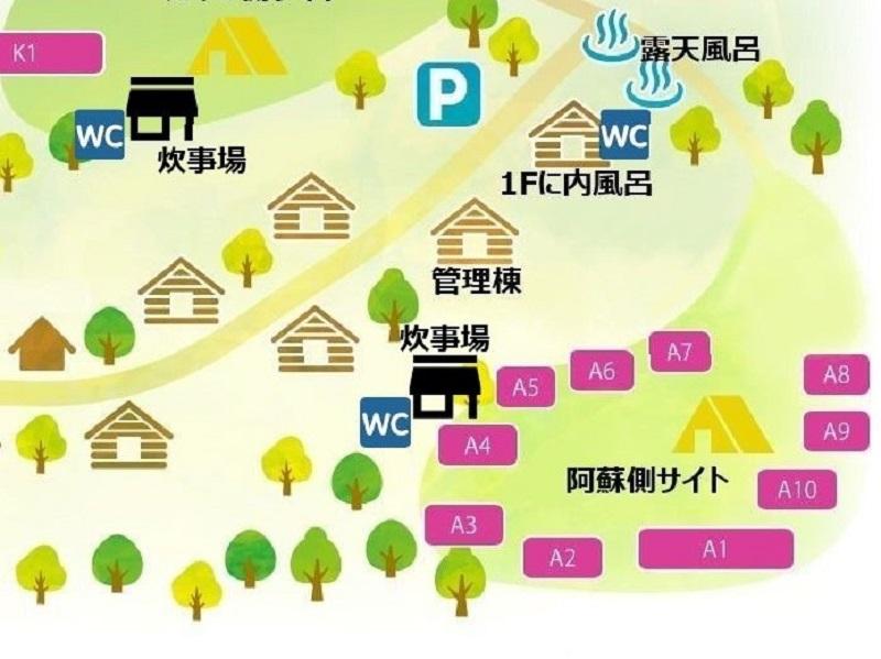 蔵迫温泉さくらキャンプ場の阿蘇側マップ