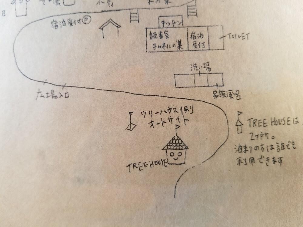 バルンバルンの森 ツリーハウス側オートサイトのマップ