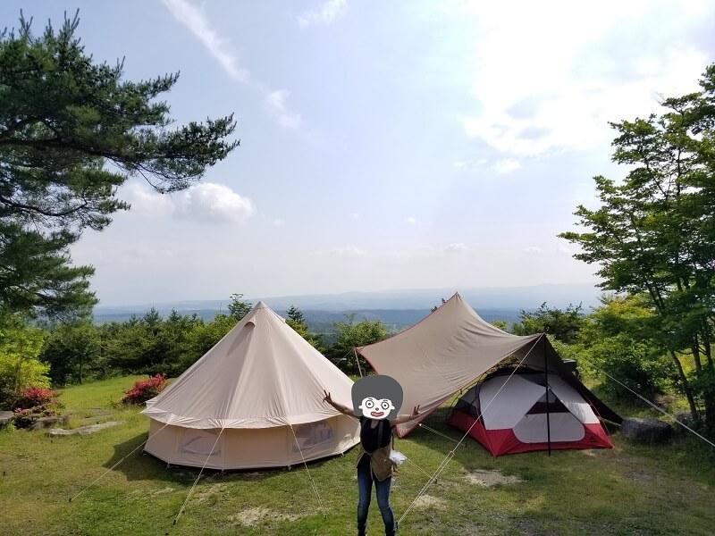 愛用のテント・タープたちと一緒に記念撮影