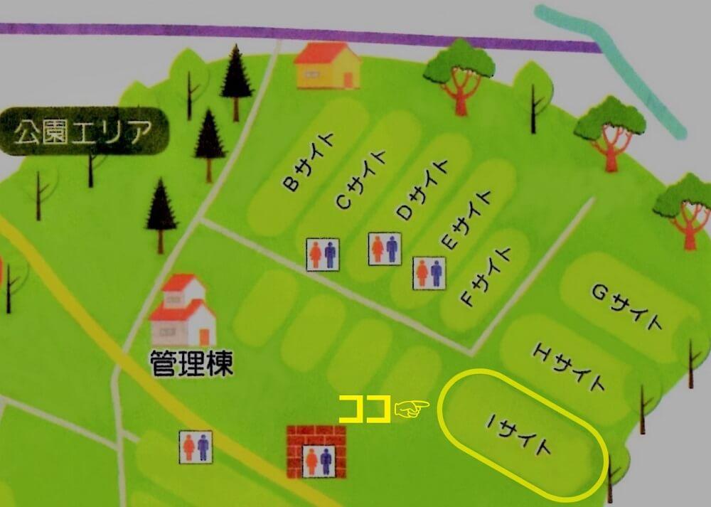ゴンドーシャロレーオートキャンプ場の公園エリアマップ-Iサイト