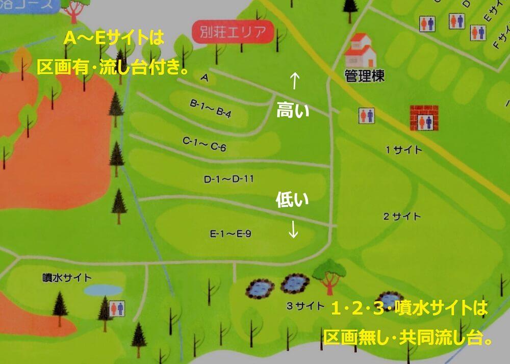 ゴンドーシャロレーオートキャンプ場の別荘エリアマップ