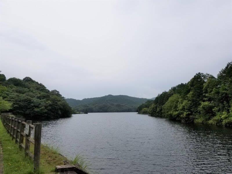 伊佐ノ浦公園キャンプサイト 最奥の湖畔エリアの景色