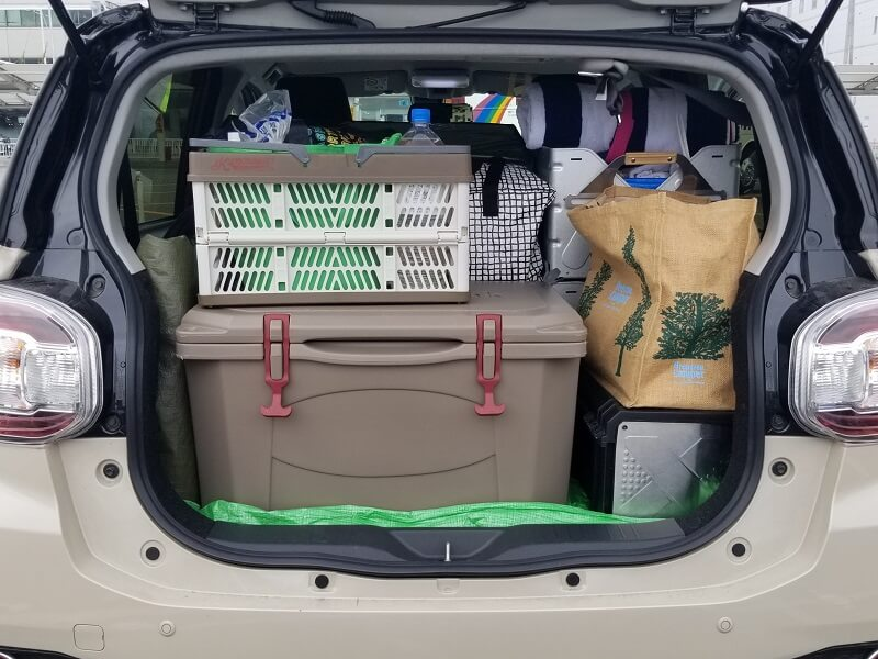 伊佐ノ浦公園キャンプ日記 ギアを車に積載
