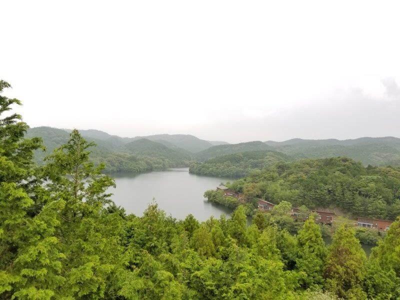 伊佐ノ浦公園の展望台からダム湖を望む