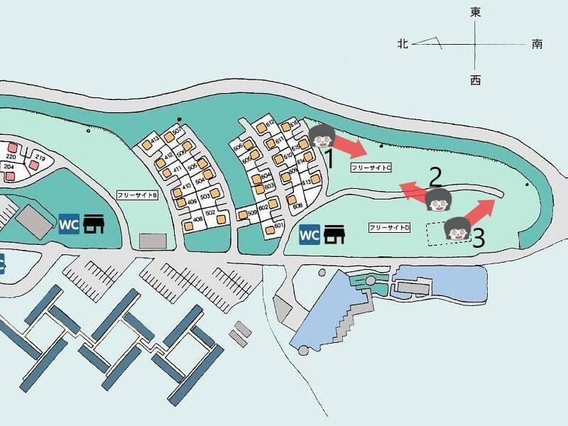 久住高原オートビレッジのフリーサイトCマップ
