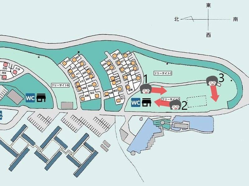久住高原オートビレッジのフリーサイトDマップ