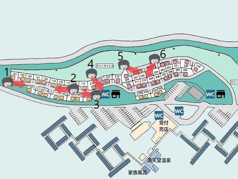 久住高原オートビレッジの区画サイト北側マップ