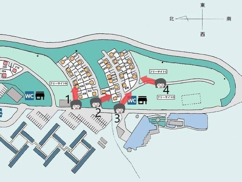久住高原オートビレッジの区画サイト南側マップ