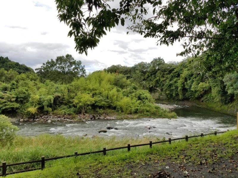 城ヶ原オートキャンプ場 オートサイトから見る大分川