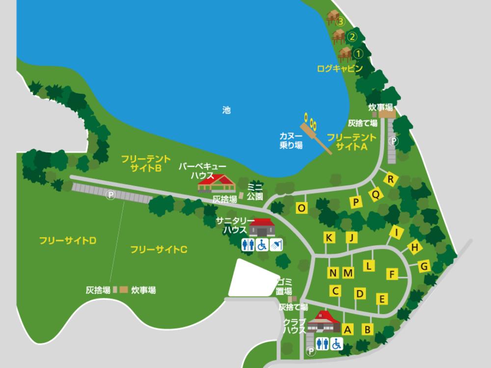 大池オートキャンプ場の場内マップ