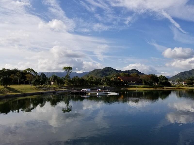 大池オートキャンプ場の美しい湖畔