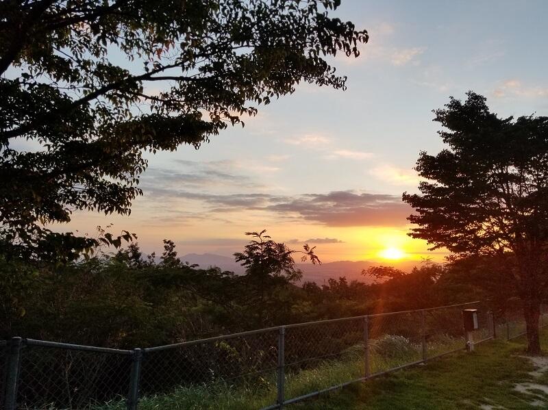 四季の里旭志 オートサイトから見る夕陽