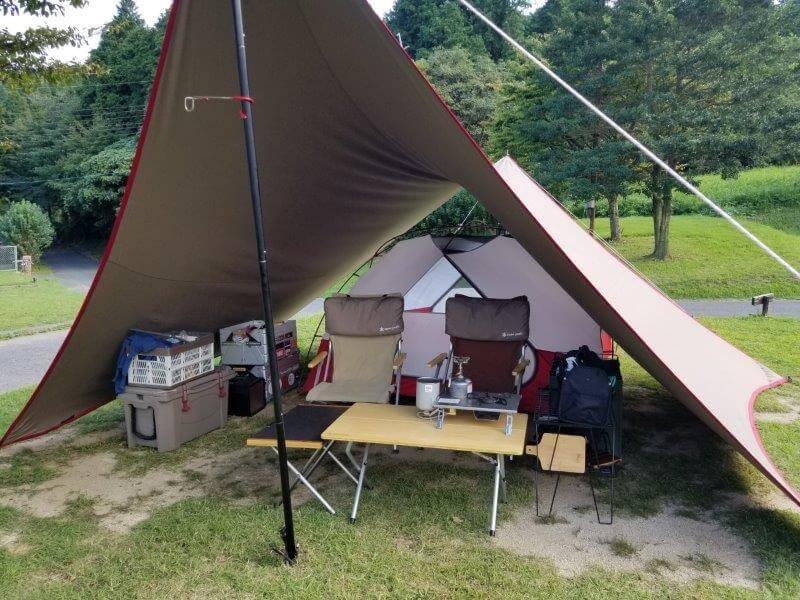 四季の里 旭志:キャンプ日記 テントの設営が完了