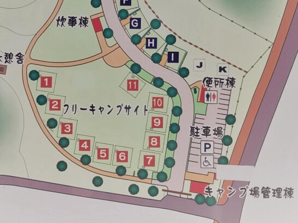 平尾台自然の郷キャンプ場 場内マップ(フリーサイト・広場サイト)