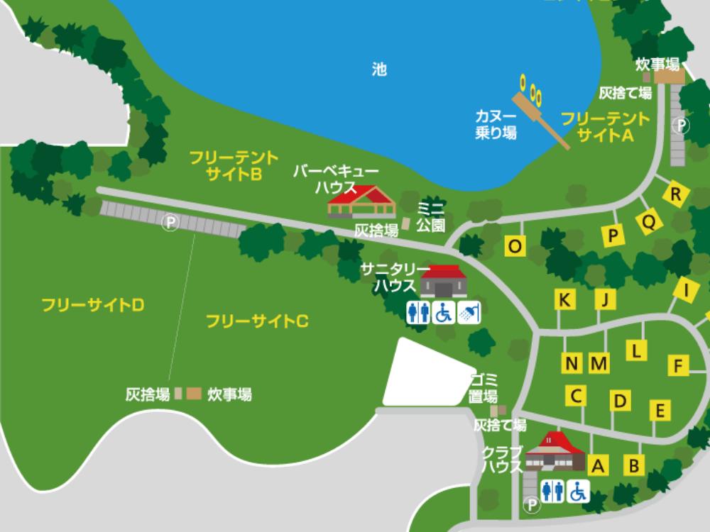 大池オートキャンプ場 場内マップ フリーサイト拡大版
